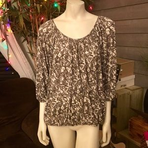 Michael Kors Tanish Brown Floral Tunic Top XL